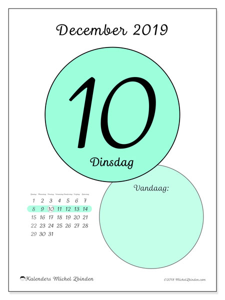 Kalender december 2019, 45-10ZZ. Kalender voor de dag om gratis te printen.
