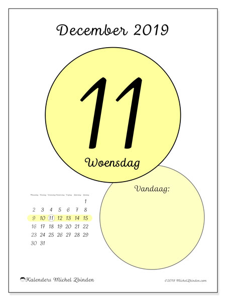 Kalender december 2019, 45-11MZ. Dagelijkse kalender om gratis te printen.