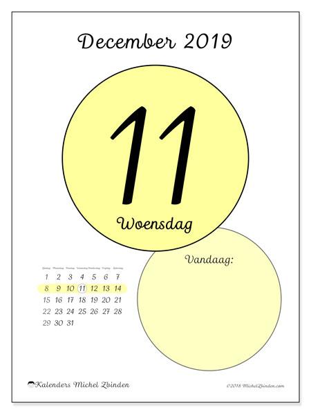 Kalender december 2019, 45-11ZZ. Kalender voor de dag om gratis te printen.