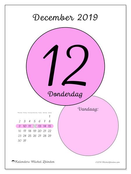 Kalender december 2019, 45-12MZ. Dagelijkse kalender om gratis te printen.