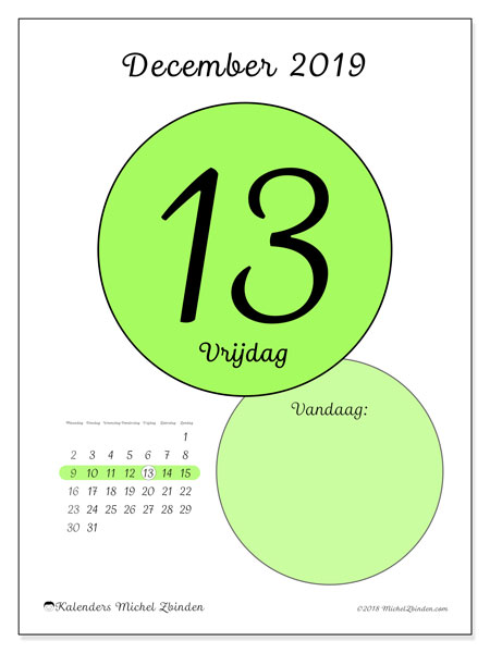 Kalender december 2019, 45-13MZ. Dagelijkse kalender om gratis te printen.
