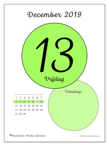 Kalender december 2019, 45-13ZZ. Kalender voor de dag om gratis te printen.