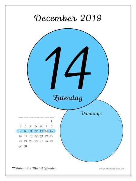 Kalender december 2019, 45-14MZ. Dagelijkse kalender om gratis te printen.