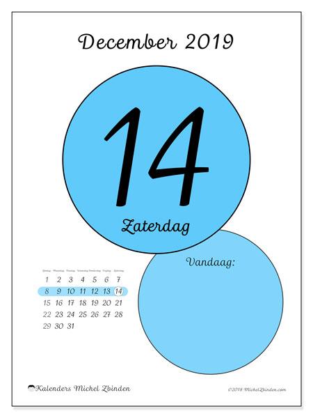 Kalender december 2019, 45-14ZZ. Kalender voor de dag om gratis te printen.