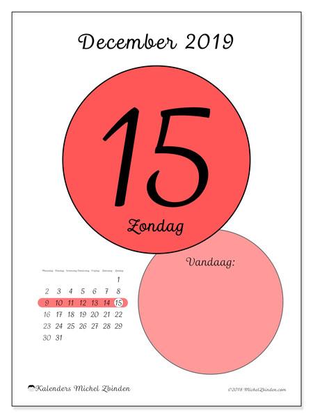 Kalender december 2019, 45-15MZ. Kalender voor de dag om gratis te printen.