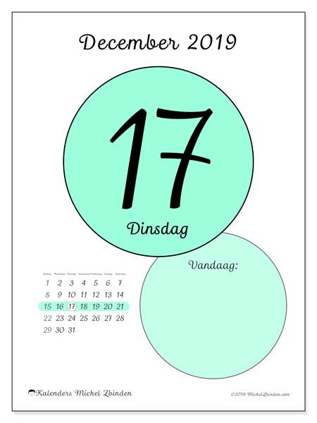 Kalender december 2019, 45-17ZZ. Dagelijkse kalender om gratis te printen.
