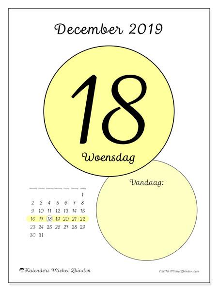 Kalender december 2019, 45-18MZ. Dagelijkse kalender om gratis te printen.