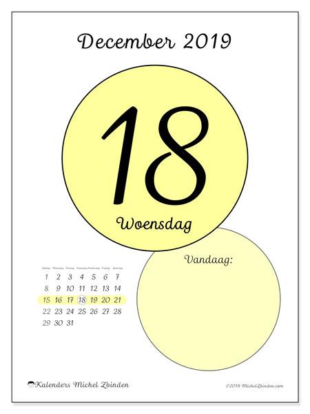 Kalender december 2019, 45-18ZZ. Dagelijkse kalender om gratis te printen.
