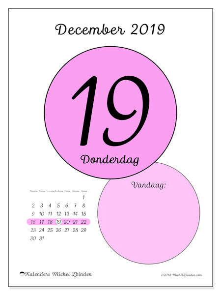 Kalender december 2019, 45-19MZ. Dagelijkse kalender om gratis te printen.