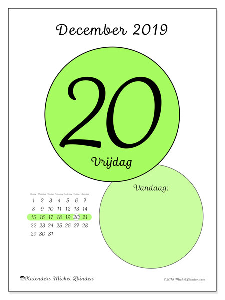 Kalender december 2019, 45-20ZZ. Kalender voor de dag om gratis te printen.