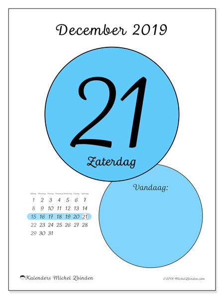 Kalender december 2019, 45-21ZZ. Dagelijkse kalender om gratis te printen.