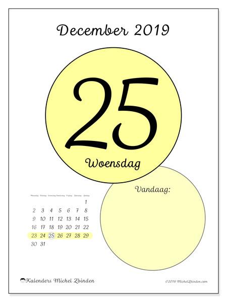 Kalender december 2019, 45-25MZ. Kalender voor de dag om gratis te printen.