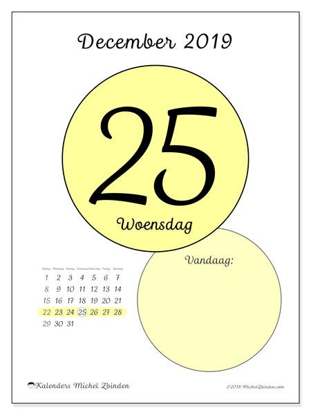 Kalender december 2019, 45-25ZZ. Dagelijkse kalender om gratis te printen.