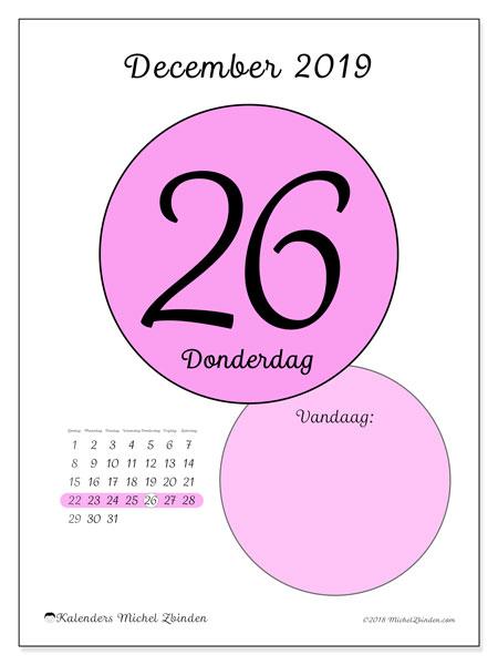 Kalender december 2019, 45-26ZZ. Kalender voor de dag om gratis te printen.