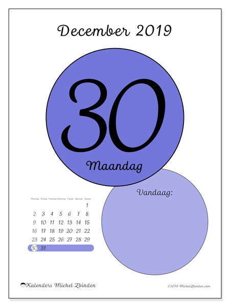 Kalender december 2019, 45-30MZ. Dagelijkse kalender om gratis te printen.