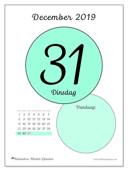 Kalender december 2019, 45-31ZZ. Dagelijkse kalender om gratis te printen.