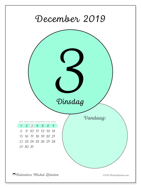 Kalender december 2019, 45-3ZZ. Dagelijkse kalender om gratis te printen.