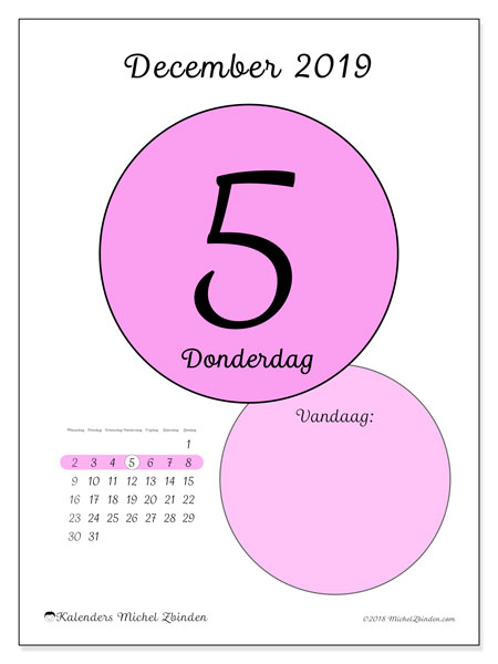 Kalender december 2019, 45-5MZ. Kalender voor de dag om gratis te printen.