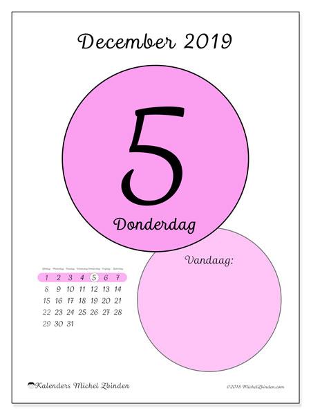 Kalender december 2019, 45-5ZZ. Kalender voor de dag om gratis te printen.