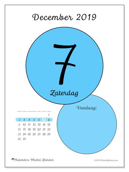 Kalender december 2019, 45-7MZ. Kalender voor de dag om gratis te printen.