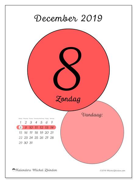 Kalender december 2019, 45-8ZZ. Kalender voor de dag om gratis te printen.