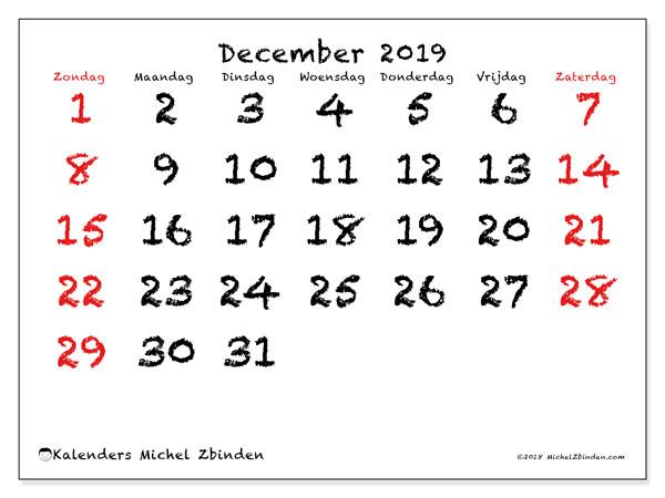Kalender december 2019, 46ZZ. Schema om gratis te printen.