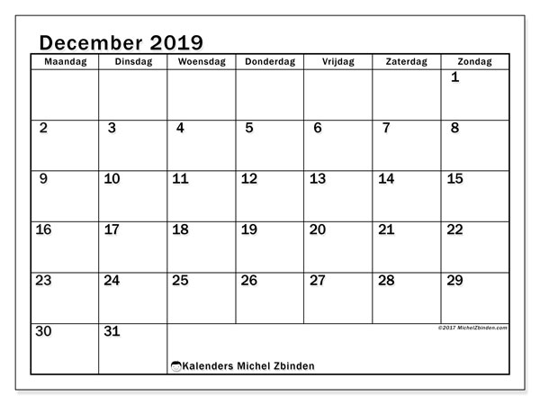 Kalender december 2019, 50MZ. Schema om gratis te printen.