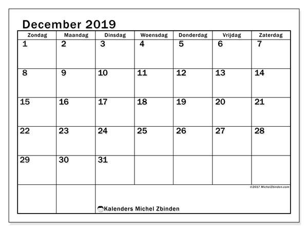 Kalender december 2019, 50ZZ. Kalender voor de maand die gratis moet worden afgedrukt.