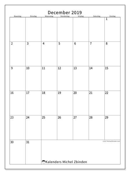 Kalender december 2019, 52MZ. Gratis printbare kalender.