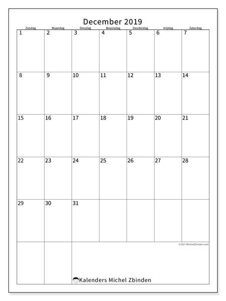 Kalender december 2019, 52ZZ. Gratis printbare kalender.