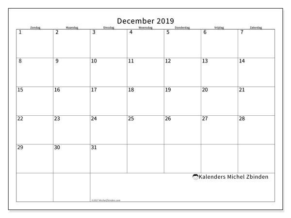 Kalender december 2019, 53ZZ. Gratis kalender om af te drukken.