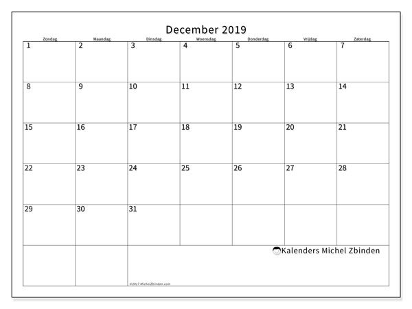 Kalender december 2019, 53ZZ. Schema om gratis te printen.