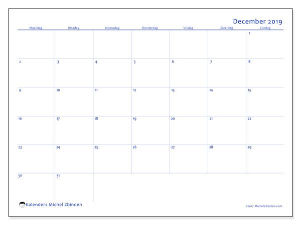 Kalender december 2019, 55MZ. Maandkalender om gratis te printen.