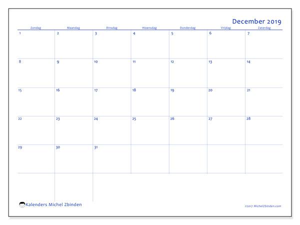 Kalender december 2019, 55ZZ. Agenda om gratis te printen.