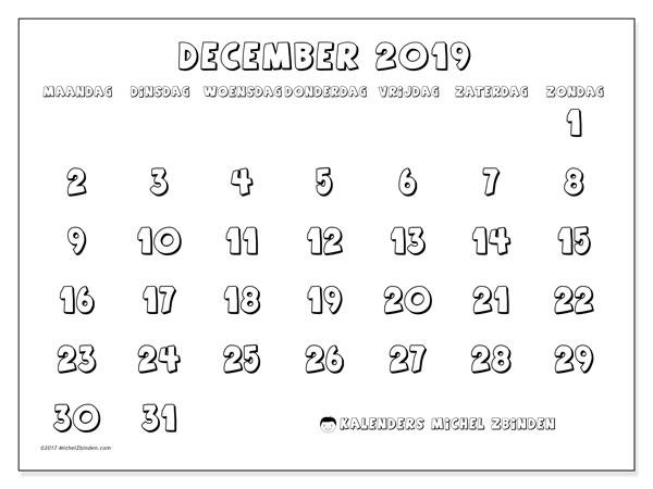 Kalender december 2019, 56MZ. Gratis afdrukbare kalender.