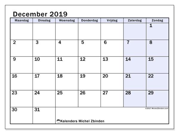 Kalender december 2019, 57MZ. Gratis kalender om af te drukken.