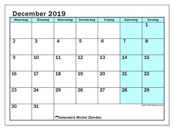 Kalender december 2019, 59MZ. Schema om gratis te printen.