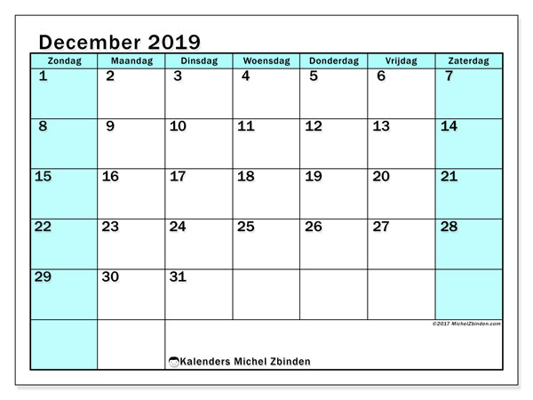 Kalender december 2019, 59ZZ. Gratis afdrukbare kalender.