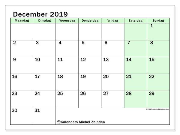 Kalender december 2019, 60MZ. Schema om gratis te printen.