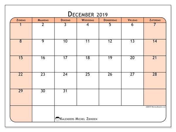 Kalender december 2019, 61ZZ. Schema om gratis te printen.