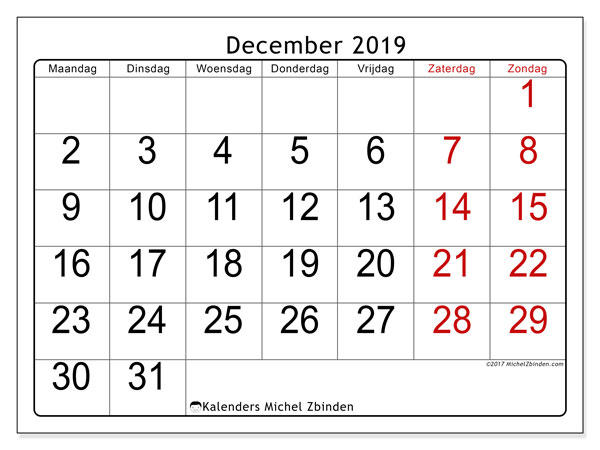 Kalender december 2019, 62MZ. Gratis kalender om af te drukken.