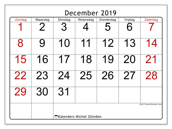 Kalender december 2019, 62ZZ. Maandkalender om gratis te printen.
