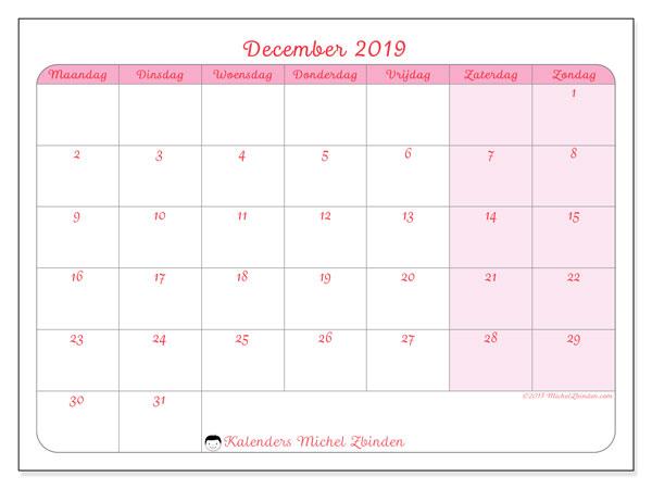 Kalender december 2019, 63MZ. Kalender om gratis af te drukken.