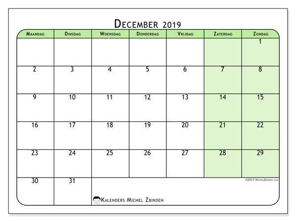 Kalender december 2019, 65MZ. Schema om gratis te printen.