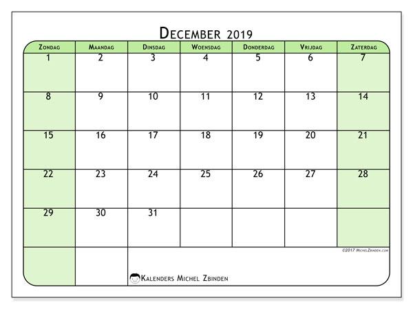 Kalender december 2019, 65ZZ. Kalender om gratis af te drukken.