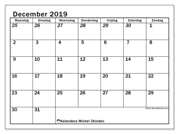 Kalender december 2019, 66MZ. Kalender voor de maand die gratis moet worden afgedrukt.