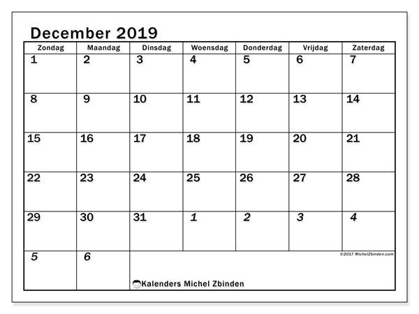 Kalender december 2019, 66ZZ. Kalender voor de maand die gratis moet worden afgedrukt.