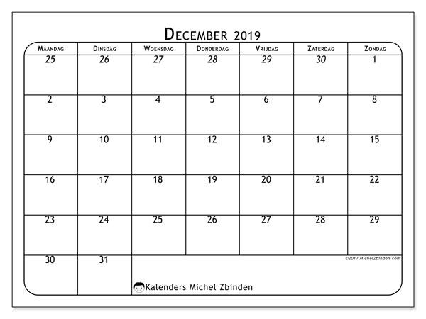 Kalender december 2019, 67MZ. Agenda om gratis te printen.
