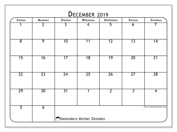 Kalender december 2019, 67ZZ. Gratis afdrukbare kalender.