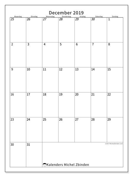 Kalender december 2019, 68MZ. Gratis afdrukbare kalender.